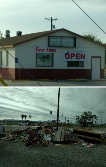 "Two images. Top: Photo of a business called Donut Palace. White building, red ""open"" sign. Bottom: Pile of rubble on side of road. Bleak and destroyed."