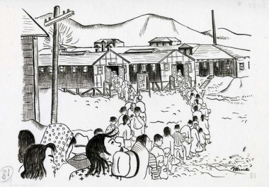 Black and white drawing of people in line heading to a building. Mountains in background.