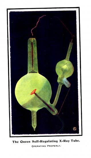 Green x-ray rube connecting two bulbs