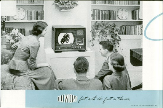Black and white brochure feature image of family on couch watching television in living room