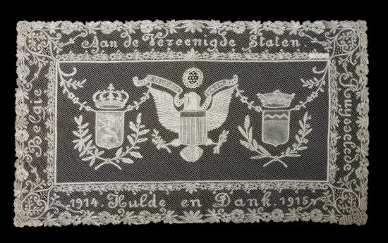 Rectangular white lace panel with eagle in center