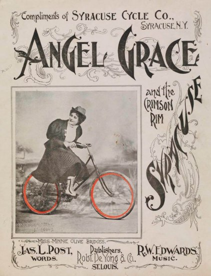 Sheet music depicting a woman in a skirt riding a bicycle