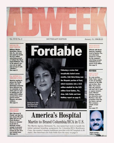 Scanned cover of the AdWeek magazine, with a photograph of Tere Zubizarreta.