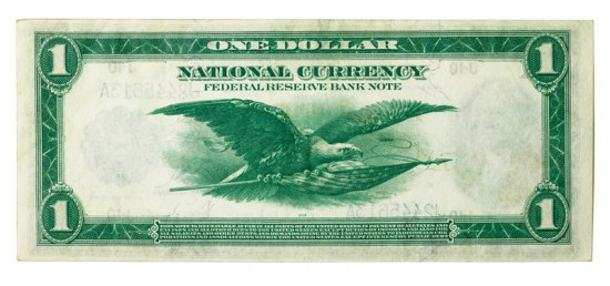 Green paper note with illustration of a bald eagle