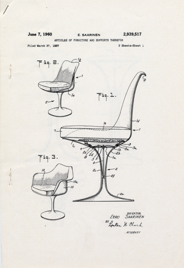 Exceptionnel 1957 Patent Drawing For Eero Saarinen Chair. US Patent And Trademark Office.