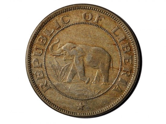 Brown coin with image of braying elephant