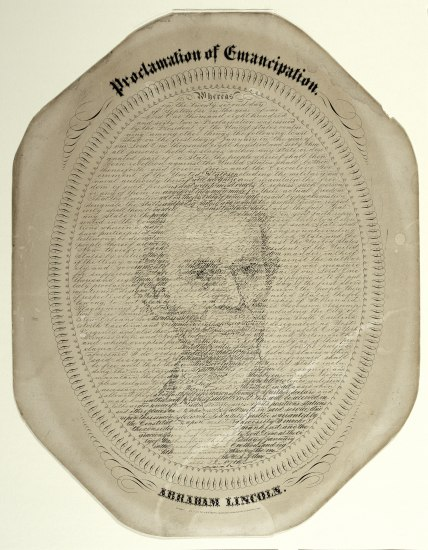 Portrait of Lincoln in lettering