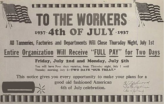 A sign advertising two full days of paid vacation for 4th of July.