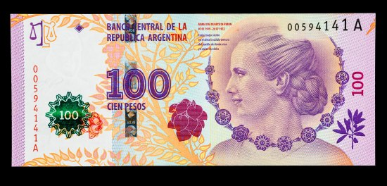 "Paper bill featuring portrait of Eva Peron. Her hair is in a low, braided bun. Illustrated flowers surround her. ""100 cien pesos."""