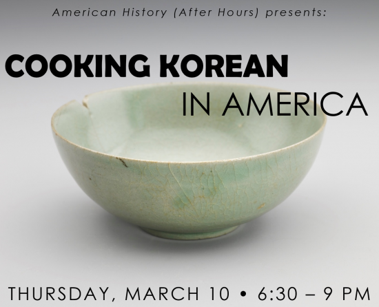 Cooking Korean in America text over a green bowl on white background