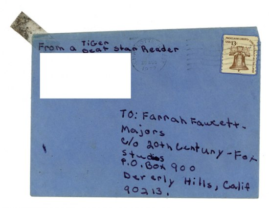 "Letter in a blue envelope addressed to ""Farrah Fawcett"""
