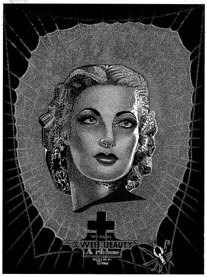 Black and white artwork of a woman's face and neck. She has short hair in a formal, powerful style, tucked into perfect curls around her neck. She has prominent, perfect eyebrows and concentration in her eyes. Her lips are plush. High forehead, very statuesque. Below her is a cross symbol. Around her is a spider we design. Artist signature is in the spider in bottom right corner.