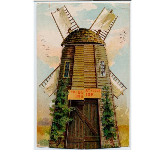An illustration of a windmill. It may be slightly faded but there is a whimsical feel to it. In the background, there is a sky from a fragonard painting.