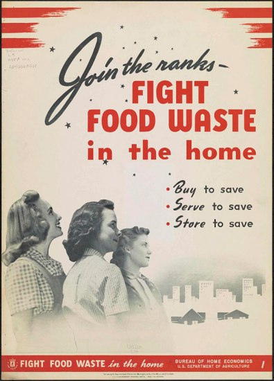 "1941 ""Fight food waste"" poster with photos of three women looking at an illustration of a city skyline"