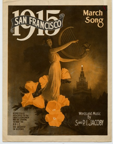 "A woman in classical dress with long, dark hair plays a large harp atop orange blooming flowers. Text says ""1915 San Francisco"" in upper lefthand corner and ""March Song"" in the right. A tower is in the background with a glowing ball giving off light."