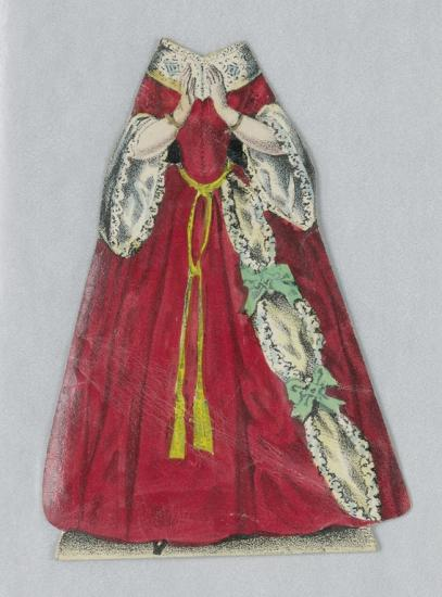 Paper doll dress. Red with white lace.