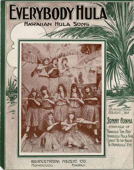 "The cover to sheet music entitled ""Everybody Hula / Hawaiian Hula Song."" In three rows, ten women mimic the swaying hula dance wearing grass skirts and baggy tops, most wearing a hairband in their hair. The stand on wood planks with palm fronds in the frame."