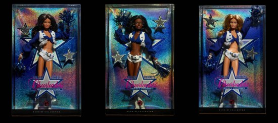 Collage image of three Barbie dolls in their boxes. The dolls wear Dallas Cowboys Cheerleaders uniforms, complete with pom-poms.
