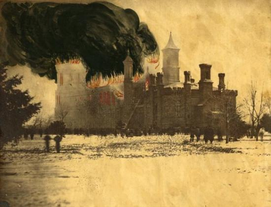 Image of Castle with figures in forefront, billowing smoke, flames