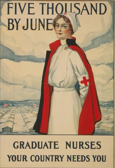 A woman in a white uniform stands and looks at the viewer. She is wearing a cape with red lining and stands outside on a raised surface somewhere above a camp with rows of buildings, one with a Red Cross flag. There is text too about becoming a nurse.
