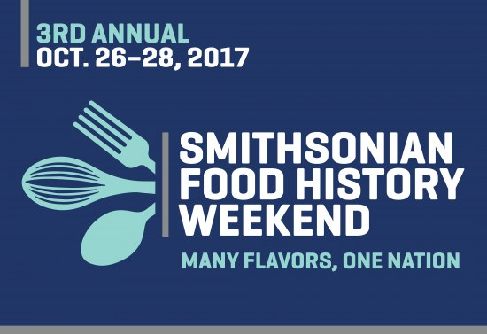 "Blue graphic with illustrations of cooking implements and text: ""Smithsonian Food History Weekend"""