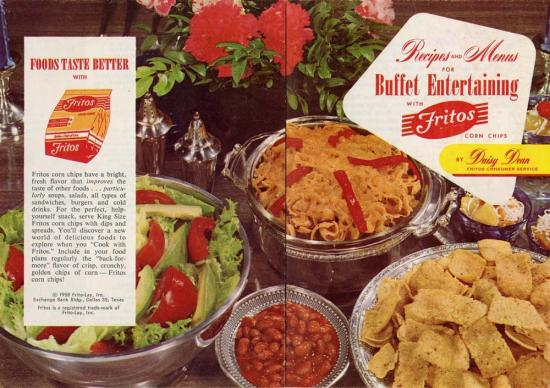 "Photo of dishes prepared with Fritos, including an avocado salad and bean dip with text promoting ""Food tastes better with Fritos"""