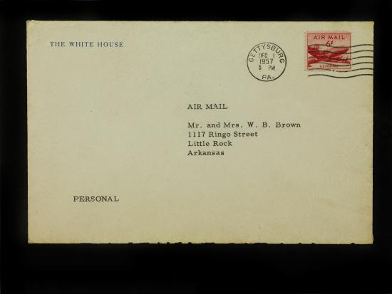 "Photo of envelope. Text: ""The White House"" ""Air Mail"""