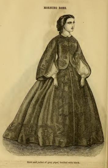 "Black and white illustration of woman in dark black dress with wide sleeves. Text: ""Mourning Robe."""