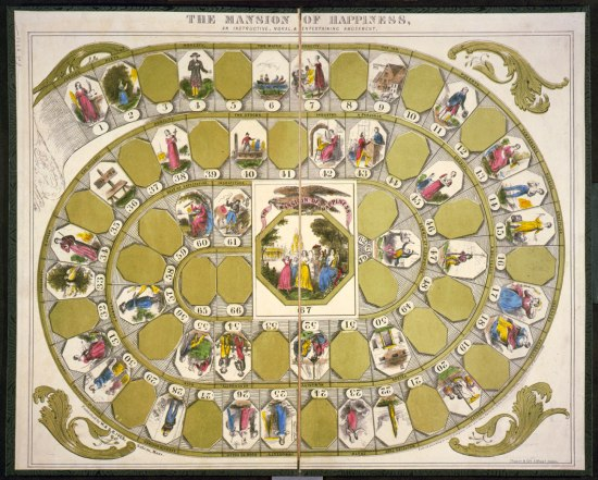 Photo of board game where game progresses along a spiral-shaped track. Gold-colored ovals alternate with ovals in which illustrations of people and places are featured.