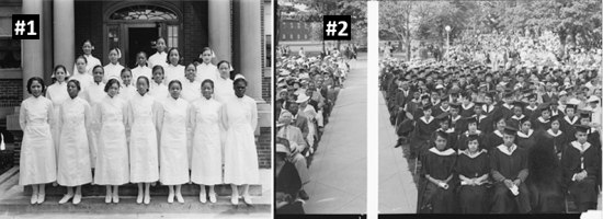 Two black-and-white photos of graduations.