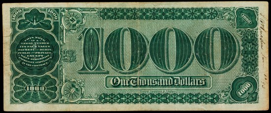"A piece of rectangular paper currency with the same colors as a US dollar bill but a giant ""1000"" on it and different markings."