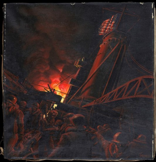 Image of a dark, naval scene, painted on canvas.