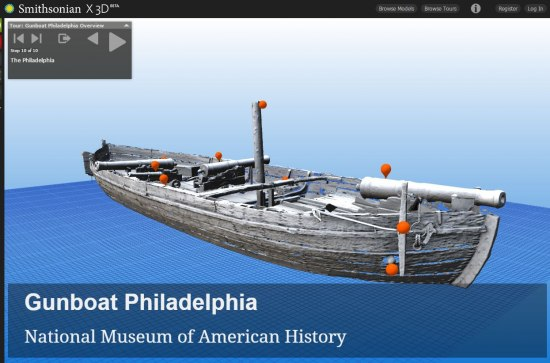 3D model of a boat with orange spots where the user can click for more info