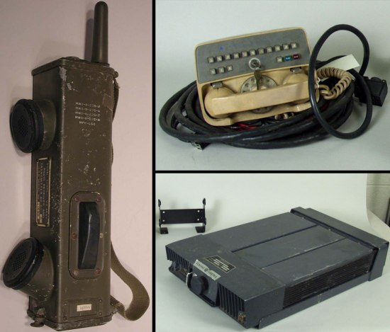 Collage image: On left, a walkie talkie-style device in Army green/grown with antenna, button, and two speaker-type protrusions. On upper right, a beige phone handset with dial and buttons. On bottom right, a black/gray box with a button.