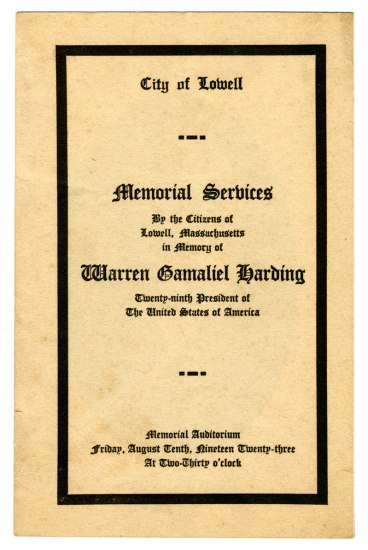 Printed booklet entitled: Memorial Services by the Citizens of Lowell, Massachusetts in Memory of Warren Gamaliel Harding