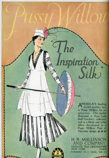 "Color advertisement with text ""Pussy Willow"" ""The Inspiration Silk"" and illustration of a woman in a white dress with black patterns, holding umbrella"