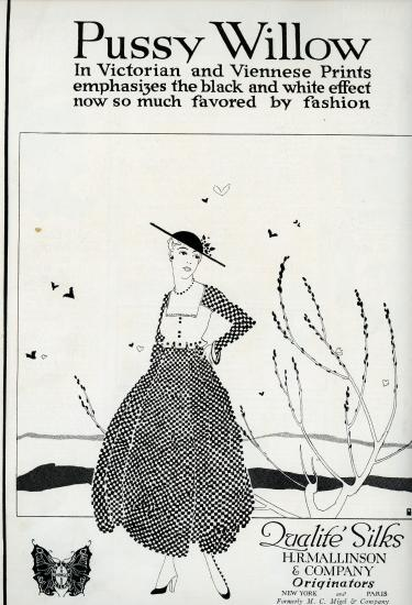 Black and white advertisement featuring an illustration of a woman wearing black and white patterned dress