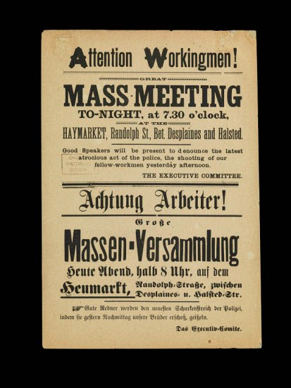 A single-page handbill announcing a mass-meeting with text translated into multiple languages.