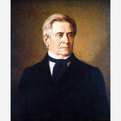 Painting of a gray-haired man wearing black