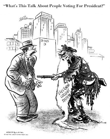 "Black and white illustration, a cartoon. On left, a man in business suit with hat looks surprised, eyes open wide and worried looking at a man standing across from him. The second man is haggard, with a ripped coat, torn pants, and unkempt appearance, including a long beard. He golds a long pointy gun pointed at the man in the business suit. His expression is mean and determined. They are on a street corner in a city. The caption: ""What's this talk about people voting for president?"" Signed by Herblock."