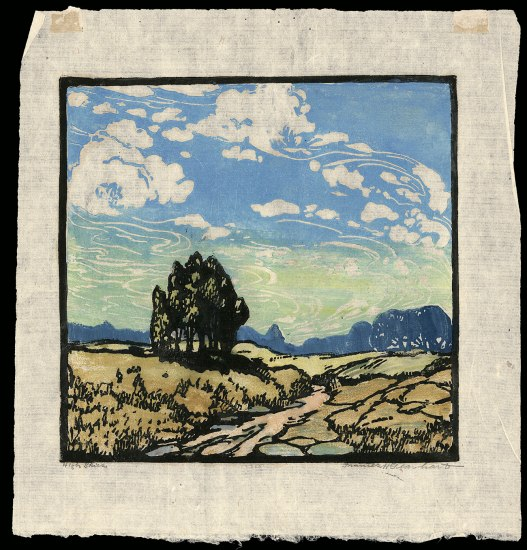 Color block print with spirally white clouds in a blue sky, stand of pine trees, and rocky grassy landscape.