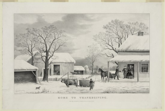 Black and white illustration of a winter scene with livestock, family, child, dog, and snow-covered rural homes and buildings.