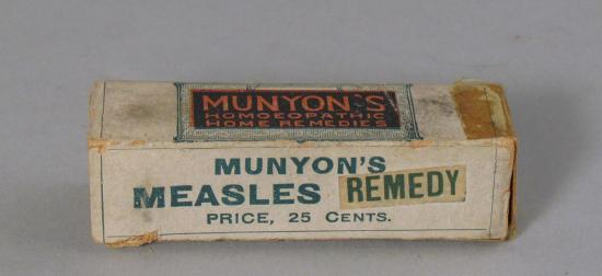 Cardboard box reading Munyon's Measles Remedy