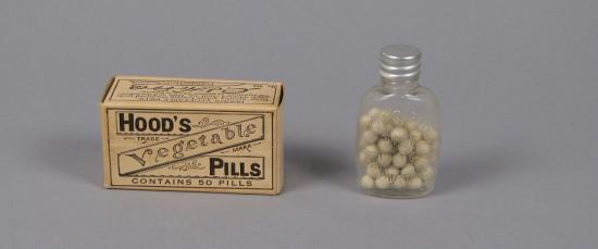 Hood's Vegetable Pills box and bottle with pills