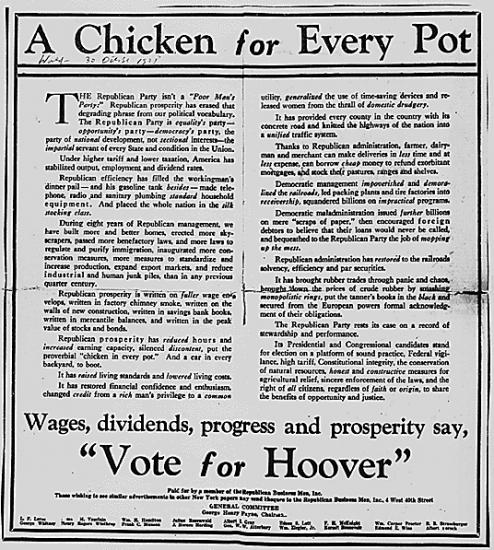 Text based advertisement for Herbert Hoover