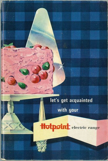 Cover of a cookbook with a blue checkered background and pink cake and silver cake server