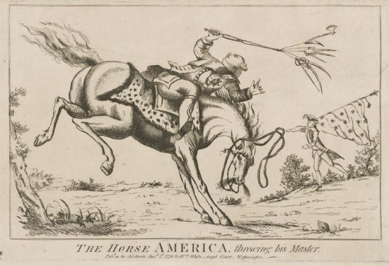 King George III is depicted in the print being thrown off his horse. In his right hand, he holds a whip terminating in multiple strings, all bearing a different weapon. A French soldier can be seen in the background holding a flag. The text at bottom of the print reads: The Horse America, throwing his Master…Published as the Act directs, August 1st, 1779 by Wm. White, Angel Court, Westminster.