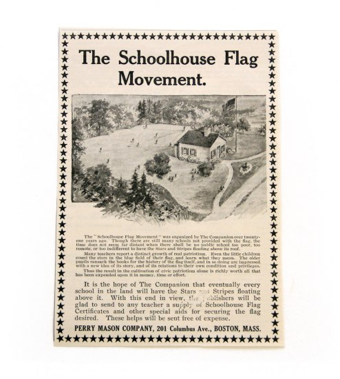 1909 ad for the Schoolhouse Flag Movement includes a drawing of a schoolhouse with a U.S. flag flying overhead