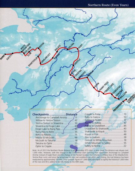 Map of National Historical Iditarod Trail shows various checkpoints