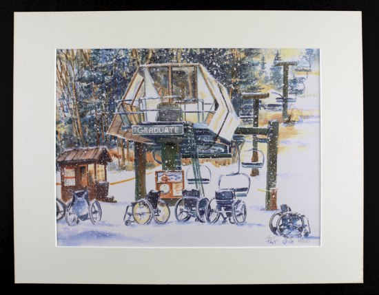 An illustration of a snowy scene with a number of wheelchairs in the show. There is a raised structure and elevated chair lifts.
